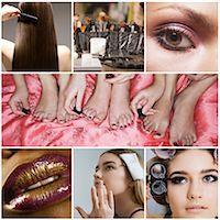 Collage of women applying make-up Stock Photo - Premium Royalty-Freenull, Code: 693-07912160