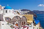 Greek church of St. Nicholas with blue dome, Oia, Santorini (Thira), Cyclades Islands, Greek Islands, Greece, Europe