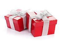 silver box - Christmas gift boxes. Isolated on white background Stock Photo - Royalty-Freenull, Code: 400-07919356