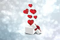 silver box - Hearts flying from box against light glowing dots design pattern Stock Photo - Royalty-Freenull, Code: 400-07957783