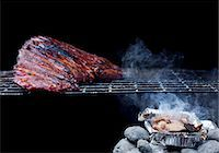 rib - Whole Rack of Pork Ribs on Grill with Barbecue Sauce Stock Photo - Premium Royalty-Freenull, Code: 659-07959057