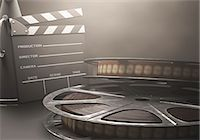 film strip - Old fashioned movie reel and clapperboard, computer illustration. Stock Photo - Premium Royalty-Freenull, Code: 679-07962042