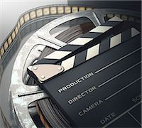film strip - Old fashioned movie reel and clapperboard, computer illustration. Stock Photo - Premium Royalty-Freenull, Code: 679-07962043
