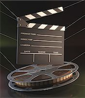 film strip - Old fashioned movie reel and clapperboard, computer illustration. Stock Photo - Premium Royalty-Freenull, Code: 679-07962045