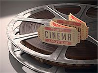 film strip - Cinema tickets and a movie reel, computer illustration. Stock Photo - Premium Royalty-Freenull, Code: 679-07962049