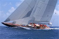 sailboat  ocean - Endeavour Sails to Windward off Coast of Antigua during 2001 Antigua Classic Yacht Regatta Stock Photo - Premium Rights-Managednull, Code: 700-07965840