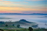 Podere Belvedere near San Quirico d'Orcia at Sunrise, Val d'Orcia, Siena, Tuscany, Italy Stock Photo - Premium Royalty-Freenull, Code: 600-07966039