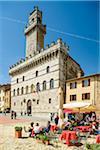 Sidewalk Cafe and Palazzo Comunale, Piazza Grande, Montepulciano, Chiana Valley, Siena, Tuscany, Italy