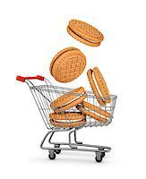 silver box - cookies cream falls into the shopping cart. concept of online shopping Stock Photo - Royalty-Freenull, Code: 400-07977370