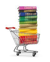 silver box - stack of colorful books in shopping card on an isolated white background. concept of online shopping Stock Photo - Royalty-Freenull, Code: 400-07977376