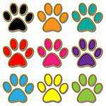 Illustration paw print set in different colors.