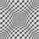 Design warped square volumetric pattern. Abstract geometric monochrome background. Vector-art illustration. No gradient