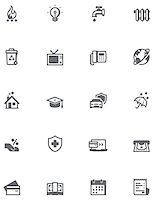 education loan - Set of the bills to pay related icons Stock Photo - Royalty-Freenull, Code: 400-07986729