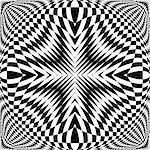 Design monochrome illusion checkered background. Abstract torsion backdrop. Vector-art illustration