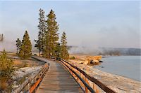 Boardwalk at West Thumb Geyser Basin with Steam from Hot Springs and Yellowstone Lake in the background, Yellowstone National Park, Wyoming, USA Stock Photo - Premium Royalty-Freenull, Code: 600-08002203