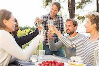 Group of happy friends toasting beer glasses during lunch at picnic table Stock Photo - Premium Royalty-Freenull, Code: 698-08007832