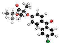 plasma - Fenofibrate cholesterol lowering drug (fibrate class), chemical structure. Atoms are represented as spheres with conventional color coding: hydrogen (white), carbon (black), oxygen (red), chlorine (green). Stock Photo - Premium Royalty-Freenull, Code: 679-08009897