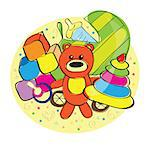 Hand drawn bear and other toys - vector illustration