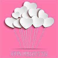 Vector - Happy Mother Day Heart Background Stock Photo - Royalty-Freenull, Code: 400-08021502