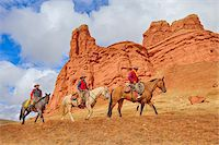 Cowboys and Cowgirl Riding Horses, Wyoming, USA Stock Photo - Premium Royalty-Freenull, Code: 600-08026202