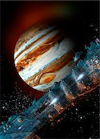 Spacecraft in Jupiter orbit, illustration Stock Photo - Premium Royalty-Freenull, Code: 679-08026949