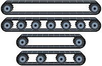 Vector illustration pack of four types of conveyor belt tracks with wheels. Stock Photo - Royalty-Freenull, Code: 400-08046768