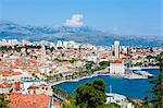 Elevated view over Split's picturesque Stari Grad and harbour, Split, Dalmatia, Croatia, Europe
