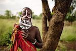 Portrait of Dinakari, Mursi Tribe, Minisha Village, Omo Valley, Ethiopia, Africa