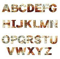 Alphabet - letters from rusty metal with rivets. Isolated on white background Stock Photo - Royalty-Freenull, Code: 400-08074573