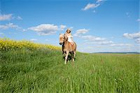 Young woman riding a Haflinger horse in a meadow in spring, Bavaria, Germany Stock Photo - Premium Rights-Managednull, Code: 700-08080584