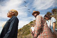 Group of friends on trek, looking at view Stock Photo - Premium Royalty-Freenull, Code: 614-08081293