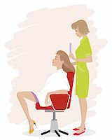 Vector illustration of a girl in hairdressing salon Stock Photo - Royalty-Freenull, Code: 400-08094595