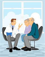Vector illustration of a couple  pensioner in clinic Stock Photo - Royalty-Freenull, Code: 400-08095232