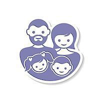 Beautiful vector family label with parents and children Stock Photo - Royalty-Freenull, Code: 400-08095359