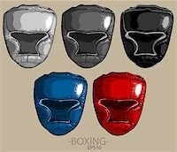 silver box - five boxing helmets of different color on a light background Stock Photo - Royalty-Freenull, Code: 400-08096837
