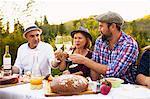 Family having picnic in the garden, Munich, Bavaria, Germany