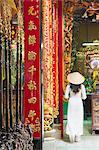Woman wearing ao dai dress at Phuoc An Hoi Quan Pagoda, Cholon, Ho Chi Minh City, Vietnam, Indochina, Southeast Asia, Asia