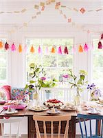 setting kitchen table - Table set for party Stock Photo - Premium Royalty-Freenull, Code: 6102-08120858
