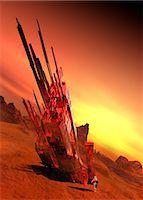 spaceship - Spaceship on planet, computer illustration. Stock Photo - Premium Royalty-Freenull, Code: 679-08121996