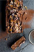 Dark chocolate terrine with pecan nut brittle Stock Photo - Premium Royalty-Freenull, Code: 659-08147548