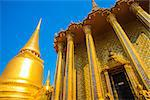 A beautiful Buddhist temple with gold in the capital of Thailand