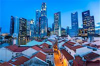 Boat Quay and Skyline at Dusk, Central Region, Singapore Stock Photo - Premium Rights-Managednull, Code: 700-08167184