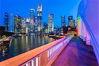 Elgin Bridge over Singapore River with Skyline at Dusk, Central Region, Singapore Stock Photo - Premium Rights-Managednull, Code: 700-08167187