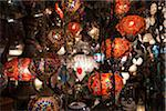 Lanterns for sale, Grand Bazaar at night, Istanbul, Turkey