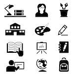 School, education, college and back to school icon set