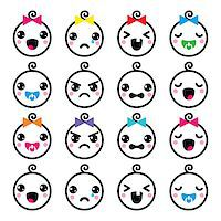 Vector icons set of happy, sad, crying babies isolated on white Stock Photo - Royalty-Freenull, Code: 400-08194302