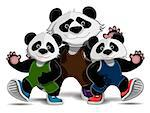 Illustration of a family of pandas in sneakers