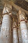 Hathor-headed columns, Hypostyle Hall, Temple of Hathor, Dendera, Egypt, North Africa, Africa