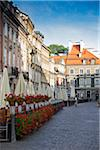 Buildings along cobblestone street, Old Town, Warsaw, Poland.
