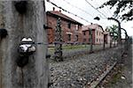 Barbed wire fence and buildings, Auschwitz, Poland